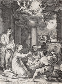 the adoration of the shepherds, from: the early life of the virgin by hendrik goltzius