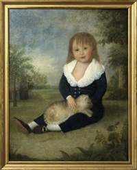 portrait of a young boy and his cat in a country landscape by american school-southern (19)