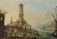 a capriccio of the rhine with elegant figures on the banks, figures unloading fishing boats beyond by johannes huibert (hendric) prins
