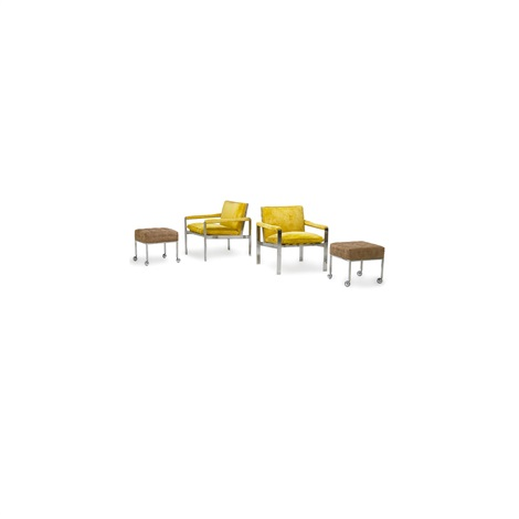 Pair Of Lounge Chairs And Stools By Harvey Probber