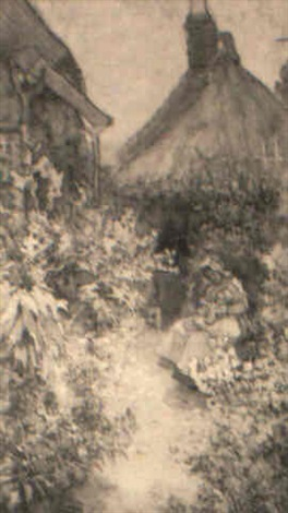 a mother and child in a cottage garden by ethel margaret ertz