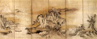 mountainous chinese landscape (pair of 6-sheet fold screens) by japanese school-kano (17)