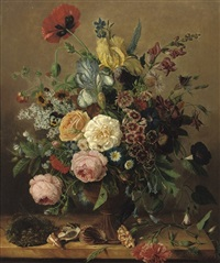 roses, peonies, delphinium and various other flowers in a vase, together with shells and a birds nest, all on a stone ledge by adriana van ravenswaay