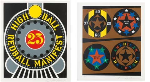 tilt high ball redball manifest set of 2 by robert indiana