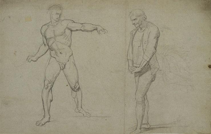 studio di nudo virile e altra figura di vecchio con le mani intrecciate recto studio di figura panneggiata e di mani intrecciate verso by pietro benvenuti