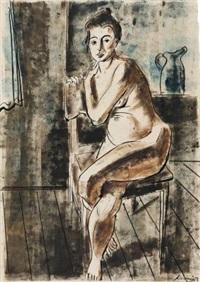 sitzender weiblicher akt (+ mutter mit kind, pen and brush and ink w/black chalk, verso) by hans körnig