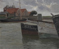 boote an anlegestellen by carl langhein
