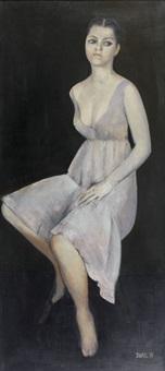 figure à la robe mauve by jean-claude stehli