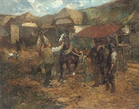 figures and horses in a farm yard by frank mura