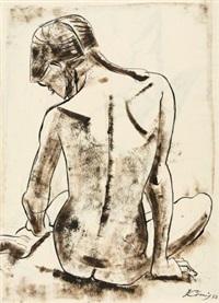 weiblicher rückenakt (+ kniender säugling, verso) by hans körnig