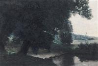 morgendliche flusslandschaft mit malerischer baumgruppe by jules-jean vialle