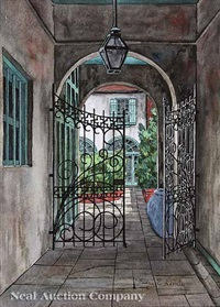 new orleans courtyard by eugene e. loving