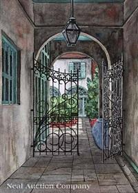 new orleans courtyard by eugene e. loving