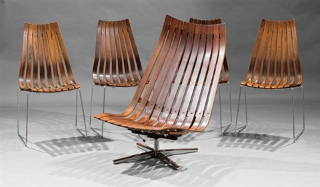 Scandia Chairs set of 4 by Hans Brattrud on artnet