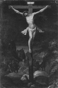 christus am kreuz vor landschaftlichem hintergrund by gillis van valckenborch