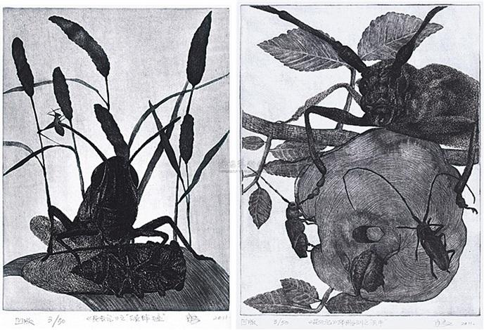 昆虫记之绿蚱蜢 昆虫记之天牛 various sizes 2 works by xiao yong