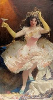 junge tänzerin mit champagnerflûte by alexander jules von soldenhoff