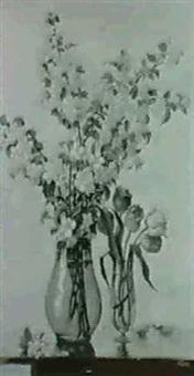 blutenzweige und tulpen. by otto vaeltl