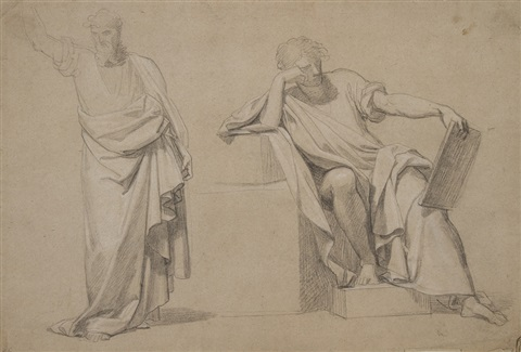 studio di due figure panneggiate by pietro benvenuti