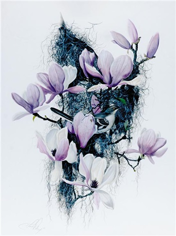 mockingbird in japanese magnolia i by c ford riley