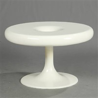 circular coffee table with trumpet shaped food by eero aarnio