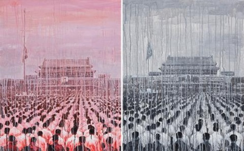 national funeral red and black diptych by sheng qi