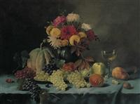 stilleben mit trauben, äpfeln, birne, nuss und melone by alois zabehlicky