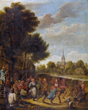 tanzende bauern vor der schenke by david teniers the younger