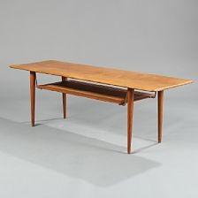 Rectangular Solid Teak Coffee Table Underlying Shelf With