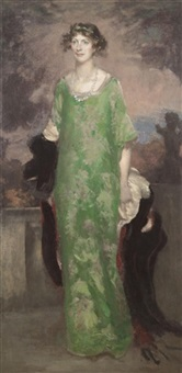 portrait of the artist's wife in green by edward barnard lintott