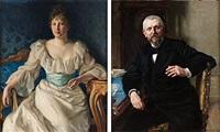 porträtt av redaktör fredrik vult von steijern (+ porträtt av hans maka gerda; pair) by richard (sven r.) bergh