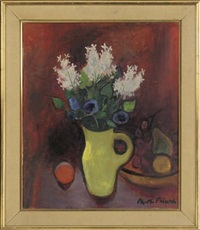 a jug and flowers, with fruit to the side by philip m. picard