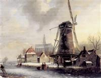 winterliches eisvernügen mit windmühle, kirche, malerischen häusern und schlittschuhläufern aus dem eis by jacobus freudenberg