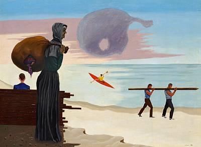 figures at the beach by vilhelm bjerke-petersen