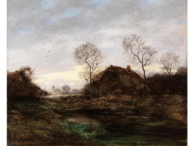 abendliche landschaft mit hütte unter kahlen bäumen am teichufer by jules dupré