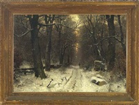 view of a snow covered path in a forest at sunset by sophus jacobsen