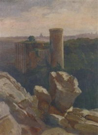 ruins before the roman campagna by léon-auguste mellé