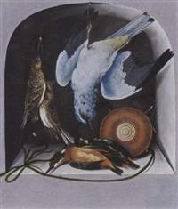 a trompe l'oeil with a hunting still life of birds and a flacon in a niche by cornelis (bilcius) biltius