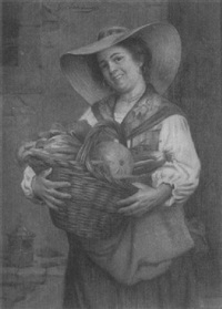 woman with vegetable basket by giovanni sandrucci