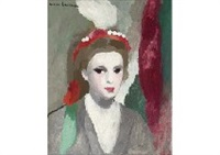 jeune femme au chapeau perle et a la plume blanche by marie laurencin