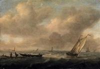 stürmische see. zahlreiche segelboote vor der holländischen küste, im vordergrund fischer, ein ruderboot beladend by arnoldus van anthonissen