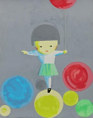 little girl with balloons by liu ye