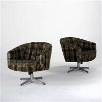 swivel club chairs (pair) by ward bennett