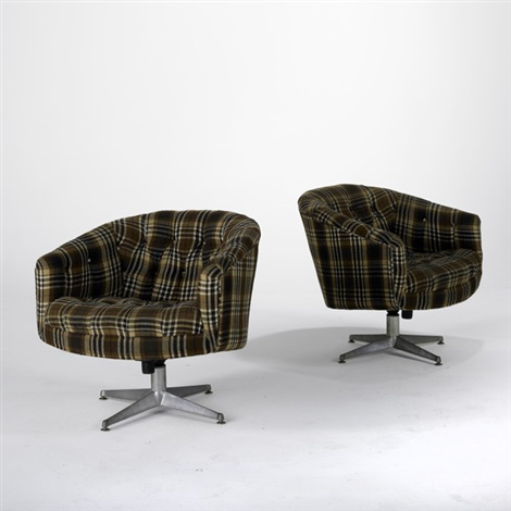swivel club chairs pair by ward bennett