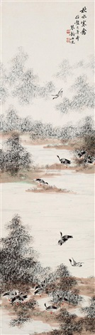 秋水寒禽 wild geese in autumn river by zhou qin
