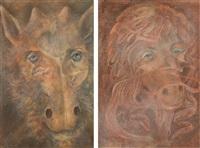 ohne titel (schafsköpfe) (+ another; 2 works) by kurt regschek