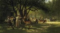 später nachmittag im park von schloß nymphenburg. familien an den tischen einer waldschänke by johann friedrich hennings