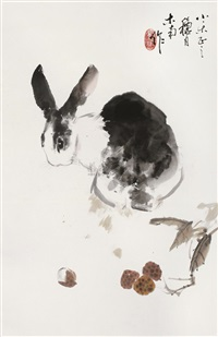 rabbit and flowers by liu nan
