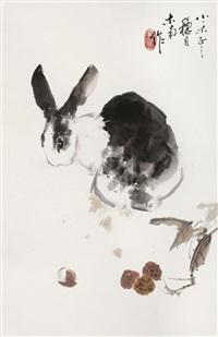 rabbit and flowers by liu nan