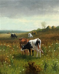 cattle grazing in a landscape by william frederick hulk